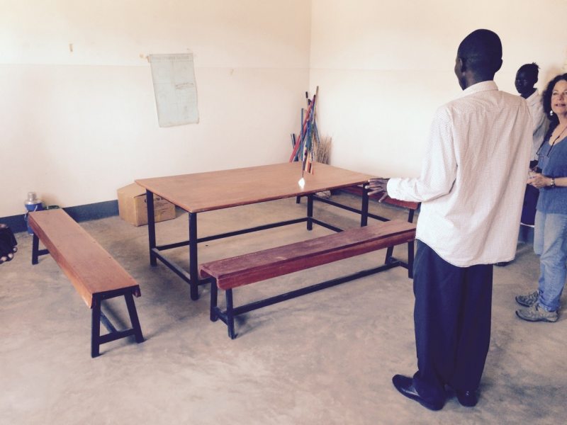 Tables and benches for students were purchased